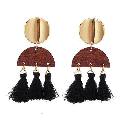 BOHO TASSEL N WOOD EARRING - BLACK
