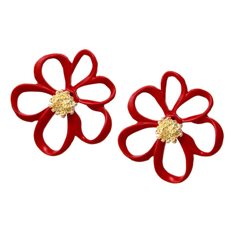 BITZ Color Flower Stud Earrings - RED