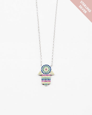 BITZ  RAINBOW HAMSA NECKLACE- 925 STERLING SILVER