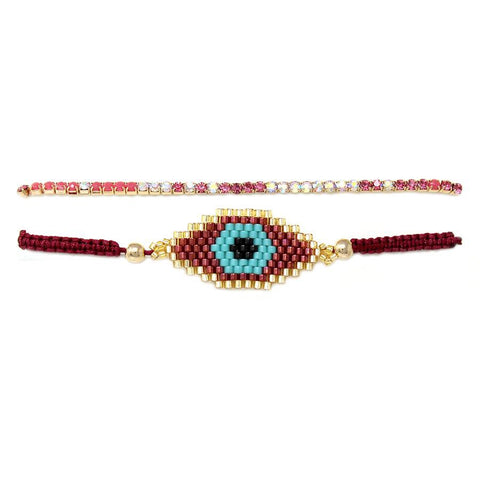 BITZ BEADED EVIL EYE BRACELET SET