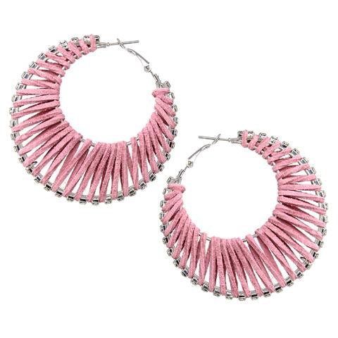 BITZ Faux Leather Wrapped Rhinestone Pave Hoop Earrings