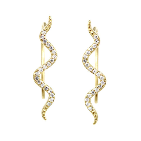 BITZ Cubic Zirconia Pave Snake Ear Crawlers Earrings