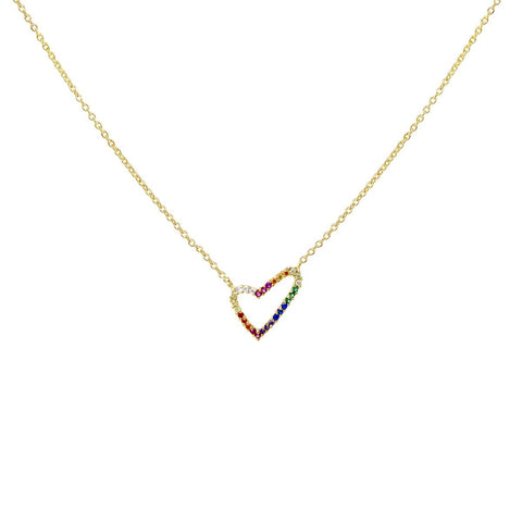 BITZ RAINBOW  CZ Pave Heart Pendant Short Necklace