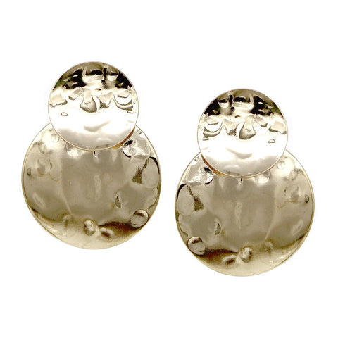 BITZ PETITE HAMMERED DOUBLE DISC DROP EARRING
