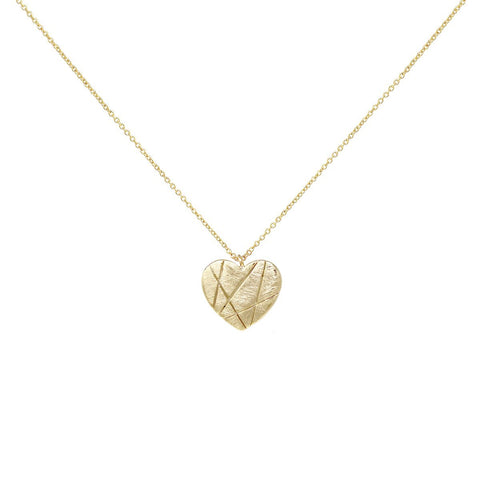 BITZ Brushed Metal Heart Pendant Short Necklace
