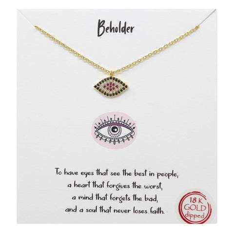 Tell Your Story EVIL EYE - Beholder CZ Pave Pendant Short Necklace