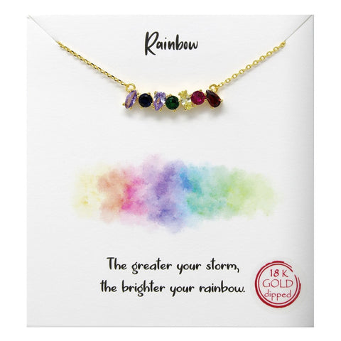 BITZ Tell Your Story: Rainbow Multicolor Bar CZ Pave Pendant Simple Chain Necklace