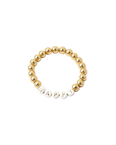 BITZ GOLD BALL MESSAGE BRACELET - HAPPY 2 COLOR OPTIONS