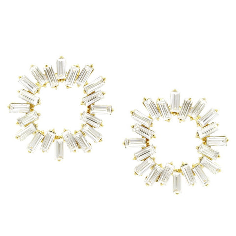BITZ RECTANGULAR  OVERSIZED STATEMENT GLASS STONE STUD EARRING