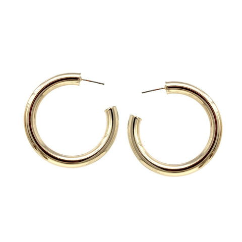 BITZ  METAL PIPE HOOP EARRINGS - SMALL COATED