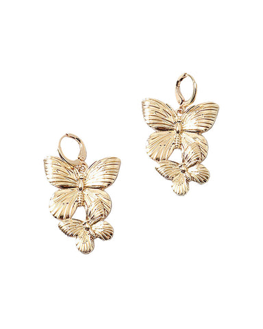 BITZ BUTTERFLY DANGLE HOOP EARRING