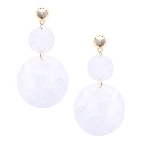 Geometric Marble Drop Earrings