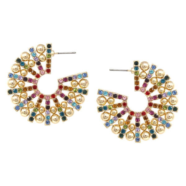 BITZ  Rhinestone Ball Beaded Hoop Earrings - two colors