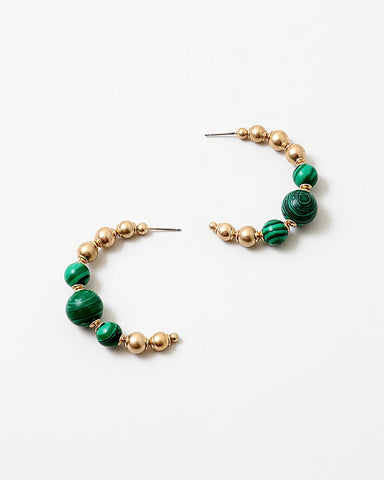 BITZ FALL STONE BALL HOOP EARRING - EMERALD