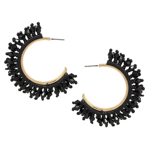 BITZ  Faceted Glass Stone Fringe Hoop Earrings - BLACK