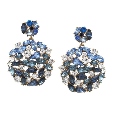 BITZ Glass Stone Cluster Disc Drop Earrings