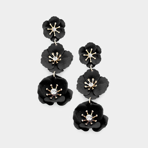 BITZ FLOWER DROP EARRING 3.0 - BLACK