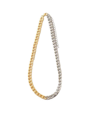 BITZ TWO TONE METAL CUBAN LINK NECKLACE