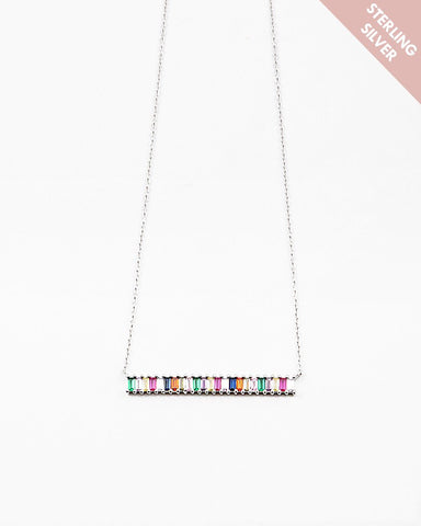 BITZ DELICATES STERLING SILVER RAINBOW BAR NECKLACE