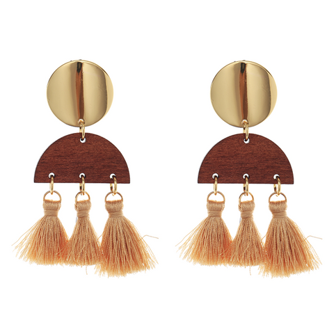 BOHO TASSEL N WOOD EARRING - TAN