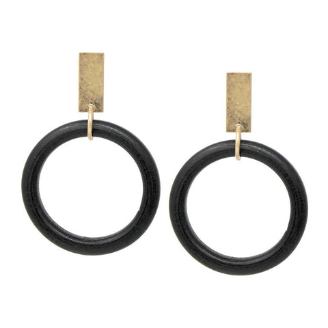 BITZ METAL N WOOD ROUND STATEMENT HOOP EARRING