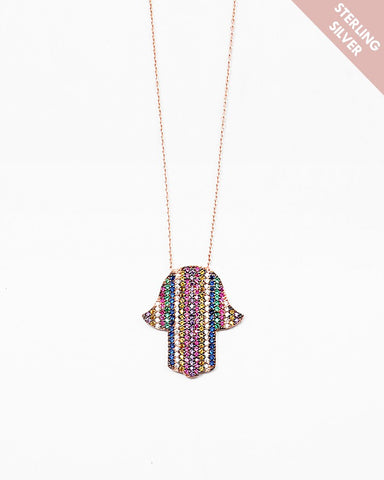 BITZ  RAINBOW SPARKLE HAMSA NECKLACE- 925 STERLING SILVER