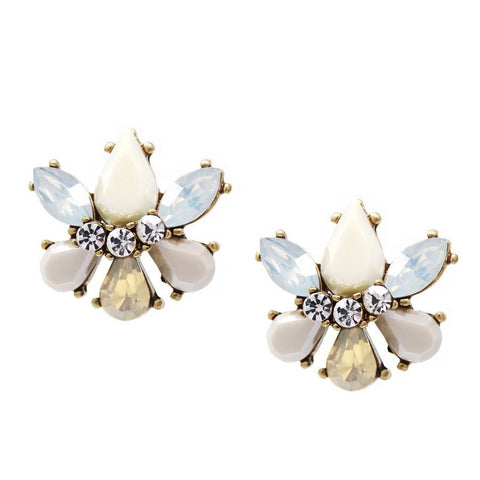 BITZ Glass N Stone Flower Stud Earrings  - CREAM