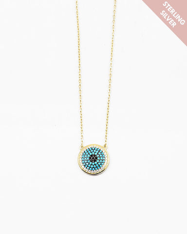 BITZ EVIL EYE NECKLACE - 925 STERLING SILVER N TURQUOISE
