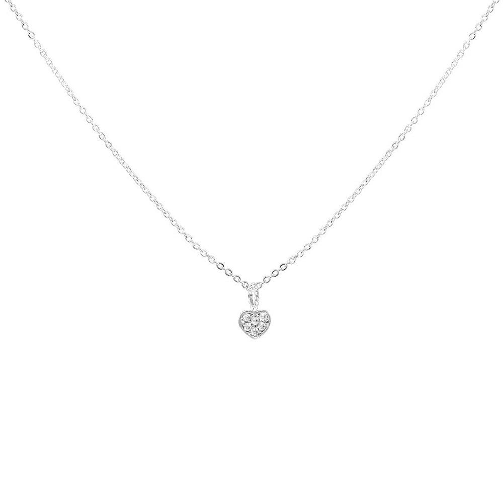 BITZ CUBIC ZIRCONIA PAVE MINI HEART PENDANT SHORT NECKLACE