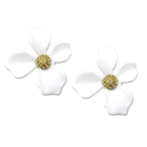 BITZ Matte Finished Flower Stud Earrings - WHITE