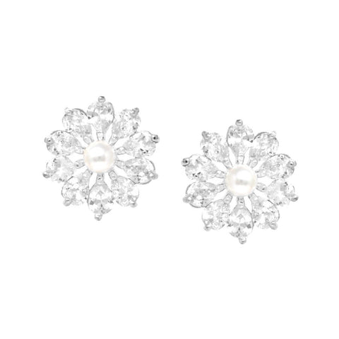 BITZ CZ  Flower With Pearl Stud Earrings