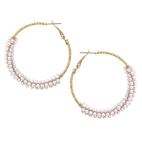 BITZ Pearl Bead Wrapped Bottom Hoop Earrings