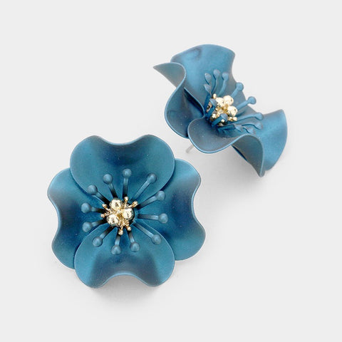 BITZ FALL FLOWER STUD EARRING - BLUE