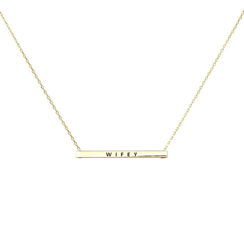 WIFEY  Inspirational Message Pendant Short Necklace - GOLD DIPPED