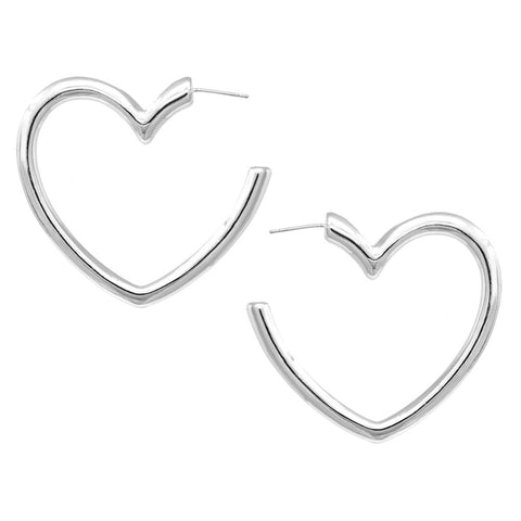 BITZ HEART METAL SHINY HOOP EARRING