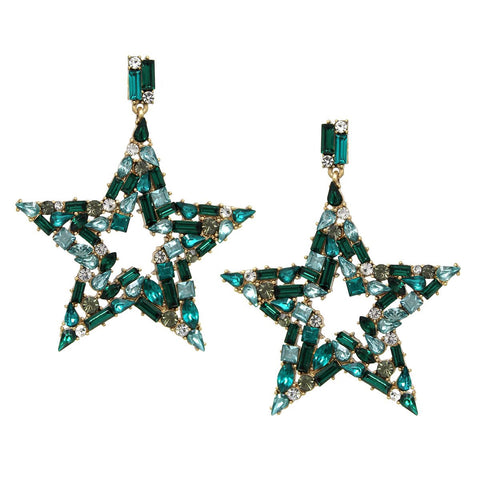 BITZ STAR FALL STATEMENT EARRING - GREEN
