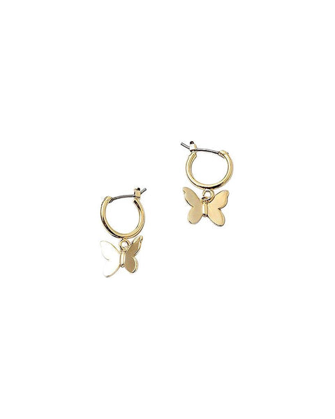 BITZ NEW! GOLD BUTTERFLY HUGGIE EARRING - matches our butterfly necklace