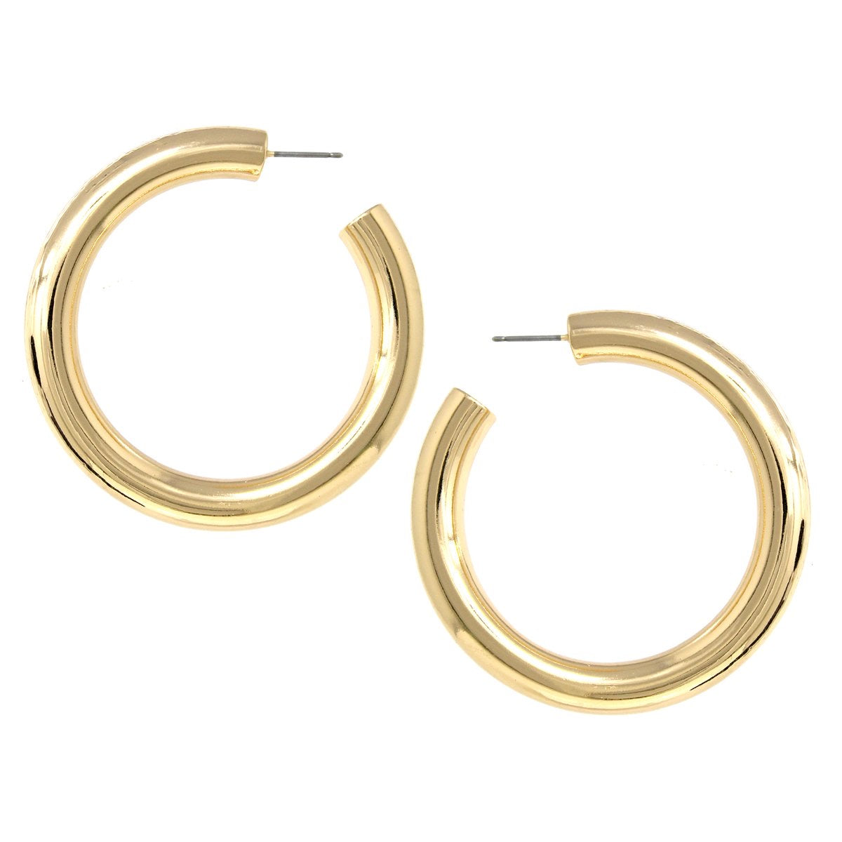 BITZ LARGE GOLD METAL COATED HOOP EARRINGS - SHINY GOLD HOOPS