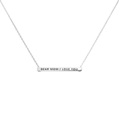 DEAR MOM: I LOVE YOU MESSAGE NECKLACE - SILVER