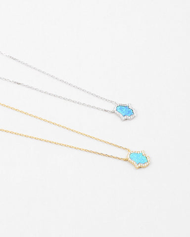 BITZ DELICATE OPAL HAMSA NECKLACE STERLING CZ