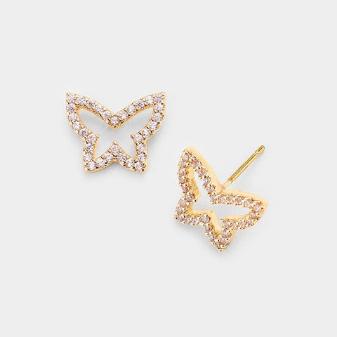 BITZ CUTOUT CZ BUTTERFLY EARRING - GOLD