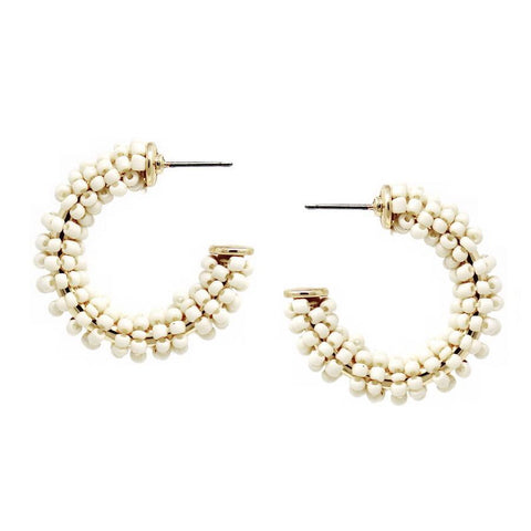 BITZ MINI BEADED STATEMENT HOOP EARRINGS