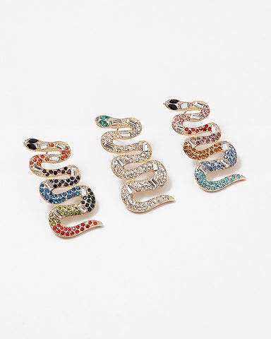 BITZ CZ SNAKE EARRINGS GOLD CLEAR