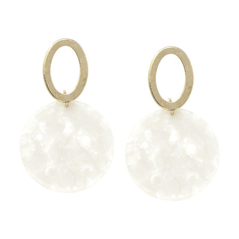 BITZ FALL OVAL MARBLE EARRING - IVORY