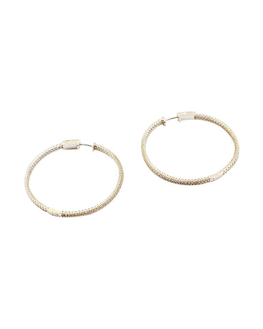 NEW! BITZ PAVE CZ HOOP EARRING 2 SIZES - GOLD OR SILVER OPTION