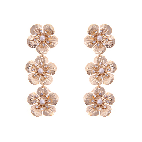 Delicate Flower Drop Earring - GOLD