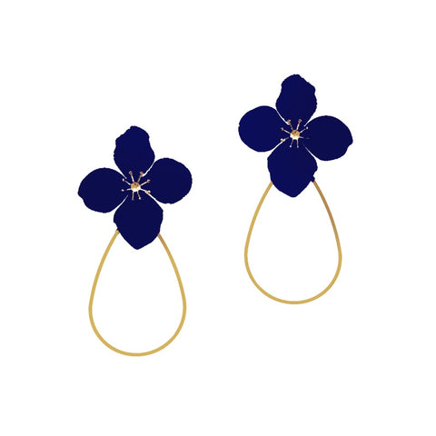 DELICATE FLOWER HOOP EARRING - NAVY
