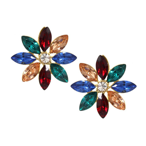 BITZ GLASS STONE FLOWER STUD EARRING