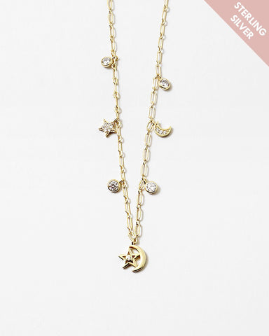 BITZ X FRUMEE MOON STAR CHARM STERLING SILVER NECKLACE - CZ 925