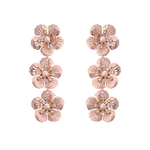 Delicate Flower Drop Earring - ROSE GOLD